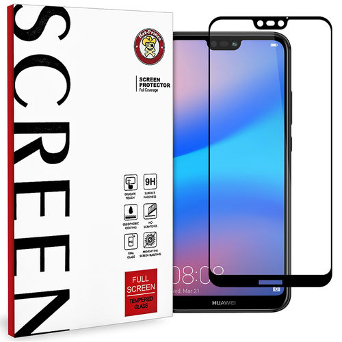 Full Coverage Tempered Glass Screen Protector - Huawei Nova 3e - Black